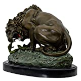 Aubaho Escultura serpente león de Bronce según Barye Antiqued - 29cm réplica Copia