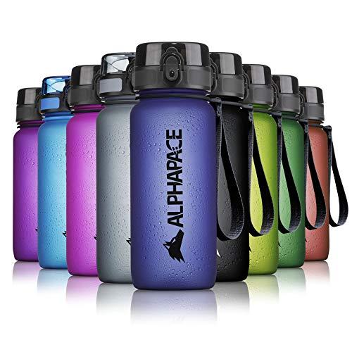 ALPHAPACE Trinkflasche, auslaufsichere 650 ml Wasserflasche, BPA-freie Flasche für Sport, Fahrrad & Outdooraktivitäten, Sportflasche mit Fruchteinsatz, in Dark-Blue