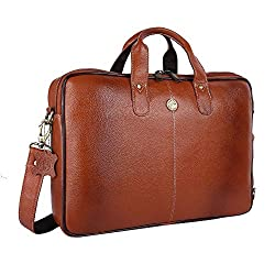 Hammonds Flycatcher Original Bombay Brown Leather 15.6 inch Laptop Messenger Bag|Padded Laptop Compartment|Office Bag (L=15.6,B=3.75,H=10.75 inch) LB106TN,Hindustan Foam,LB106TN