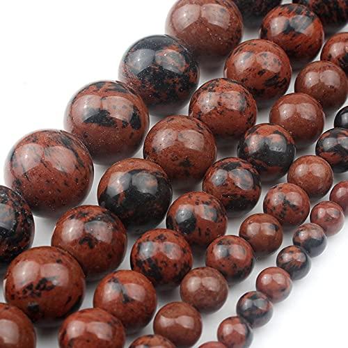 HUKGD Cuentas Sueltas Redondas de obsidiana de Caoba de Piedra Natural para Hacer Joyas 4/6/8/10/12 Mm Fit DIY Collar de Pulsera de 15 Pulgadas 6mm