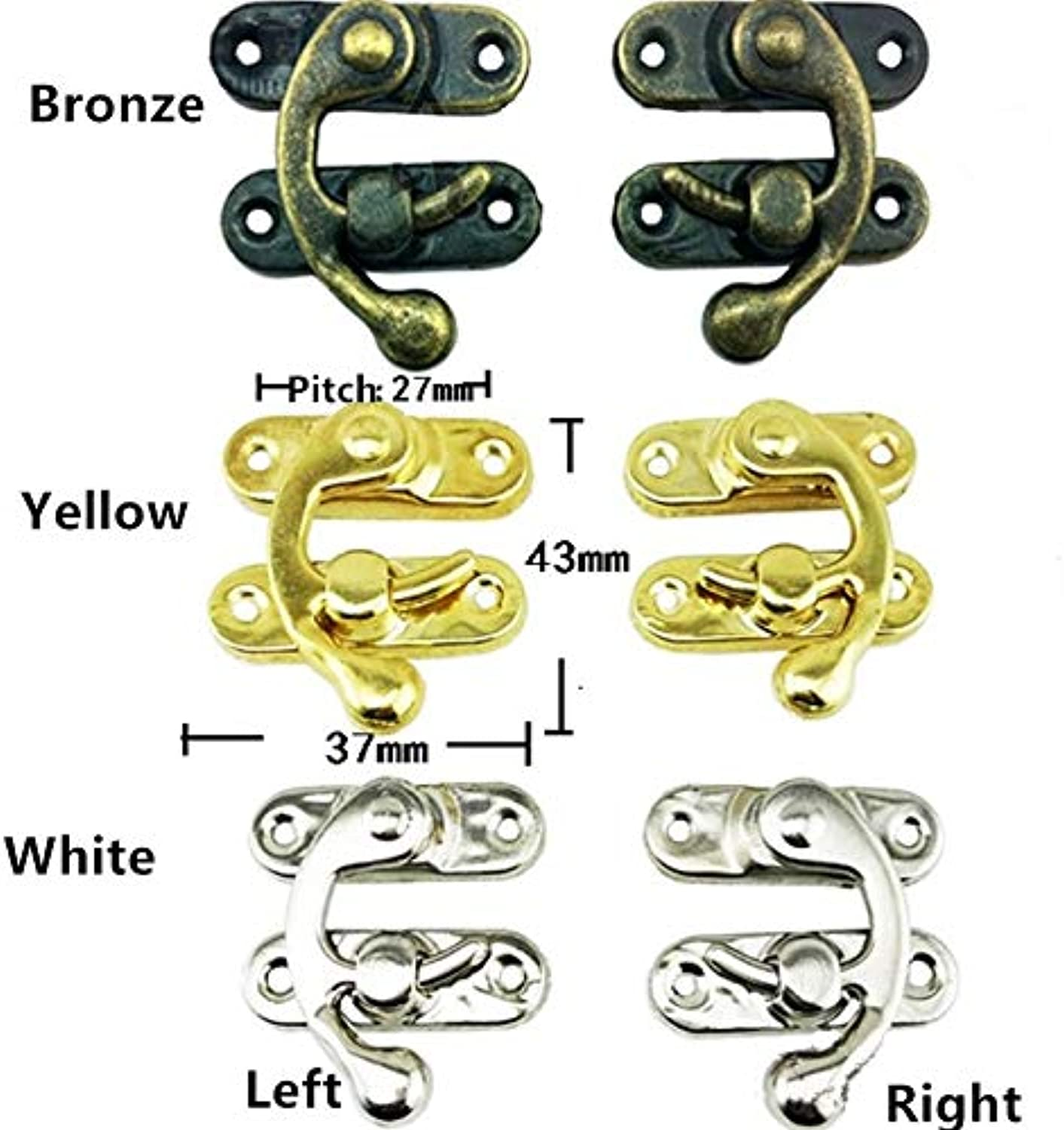 Antique Box Suitcase Toggle Latch Buckles,Antique Iron Lock,Wooden Box Lock,37  43mm,60Sets  (color  Yellow Right)