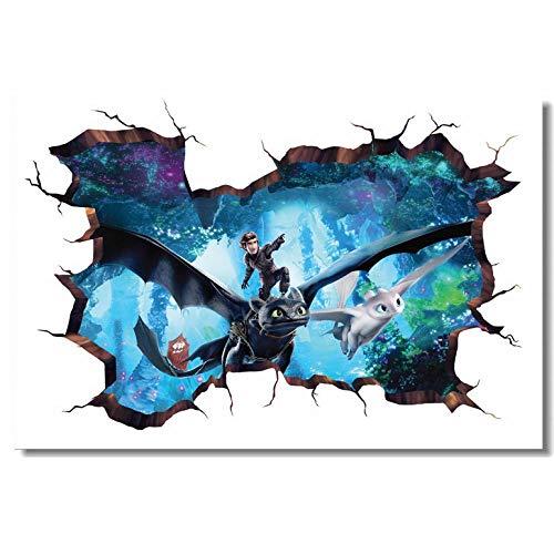 Wandaufkleber Benutzerdefinierte Druck Wandbild Wie Drachenzähmen Poster 3D Wandaufkleber Zahnlos Tapete Wohnzimmer Aufkleber