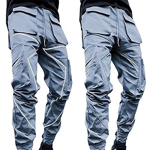 Reflective Cargo - Pantalones largos para hombre, sueltos, informales, para correr, para el tiempo libre, tácticos, básicos, chinos, senderismo, softshell, gris, XXL