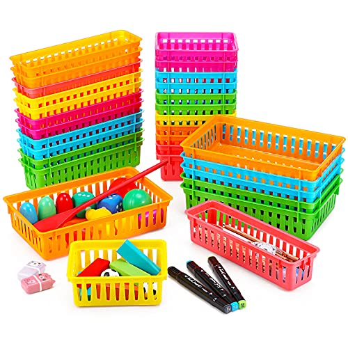 30 Pieces Classroom Storage Baskets Colored Crayon Pencil Basket Trays Stationery Storage Bin Plastic Crayon Basket Colorful Classroom Organizer for Pencil, Toy, Paper, Crayon, Office Supplies, 3 Size