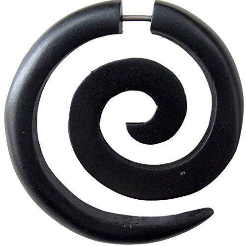 Chic-Net Madera tribal pendiente Sono grandes correa de acero inoxidable negro espiral Fake Piercing orgánicos tribales 1 mm