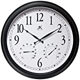 Infinity Instruments 24 inch Classic Humidity Round Wall Outdoor Indoor Thermometer Clock Hygrometer | for Patio, Pool, Garage, Large, Black/White