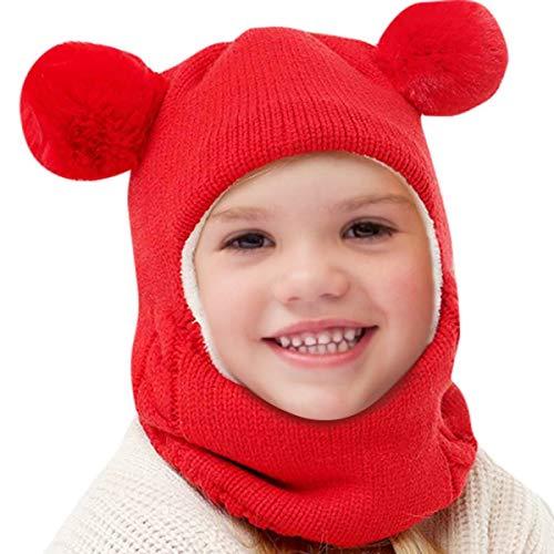 Dsaren Sombrero de Punto Niño Invierno Cálido Sombrero y Bufandas Bebé Gorros Regalo Navidad Cumpleaños Chico Niña (Rojo)