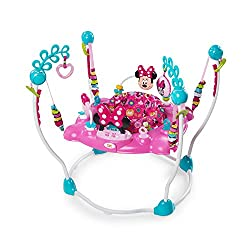 Minnie's peek-a-boo baby jumper magically makes giggles Seat rotates alllll the way around for 360-degree fun 12 toys and activities with extra toy loops Electronic toy station has Minnie-fied lights & sounds Includes machine washable seat pad