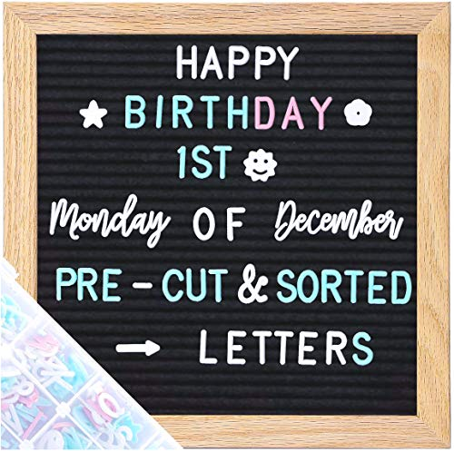 G GAMIT Felt Letter Board Message Board 10x10inch with Stand,Pre-cut&Sorted 805pcs Changeable Letters+Weeks &Months Cursive Words,Word board Sign board with Sorting Tray&Gift Box(Black)