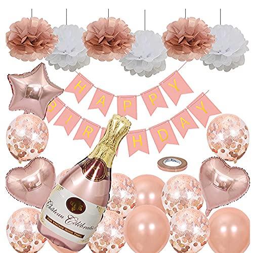 FDQNDXF Kit de Decoración para Fiestas de Globos, Pancarta de Feliz Cumpleaños, Lentejuelas de Oro Rosa y Juegos de Globos de Película de Aluminio, para Bodas/Cumpleaños/Aniversarios