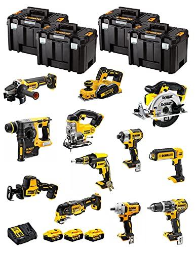 DeWALT Kit DWK1200T (DCD796 + DCH273 + DCG405 + DCF887 + DCF894 + DCS331 + DCS391 + DCS355 + DCP580 + DCS369 + DCL050 + DCF620 + 3 Baterías de 5,0 Ah + Cargador + 4 x TSTAK VI)