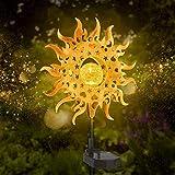 Solarlampen für Außen, Metall Sonne-Form Solarleuchten Garten mit 2 Beleuchtungsmodi, LED Solar Gartenleuchten IP65 Wasserdichte für Hof Rasen Gehweg Terrasse Gartendeko