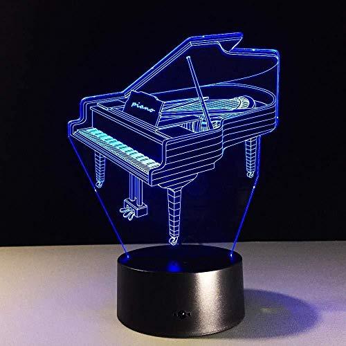 3D Slideshowambience muziekinstrument piano speelgoed auto motorfiets 3D optisch touch licht bont kleur decoratie illusie tafellamp nachtlampje -Aa-A