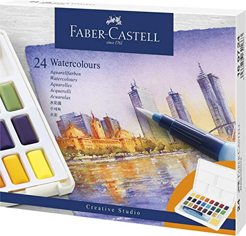 Faber-Castell Creative Studio Portable Watercolor Palette - 24 Water Colors In Half Pans with Travel Watercolor Brush, 24 Colors