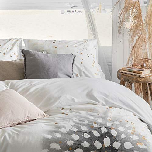 Walra Bettwäsche Golden Canvas Weiss 1 Bettbezug 155 x 220 cm + 1 Kissenbezug 80 x 80 cm