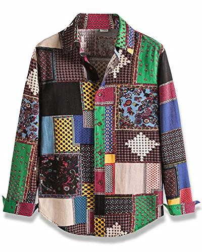HENGAO Men's Long Sleeve Tribal Patchwork Regular Fit Linen Button Down Shirt, CS8, Large = Tag 5XL