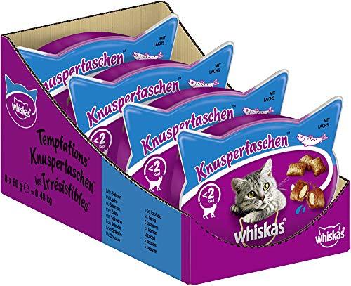 Whiskas Katzensnacks Knuspertaschen mit Lachs, 8 Packungen (8 x 60 g)