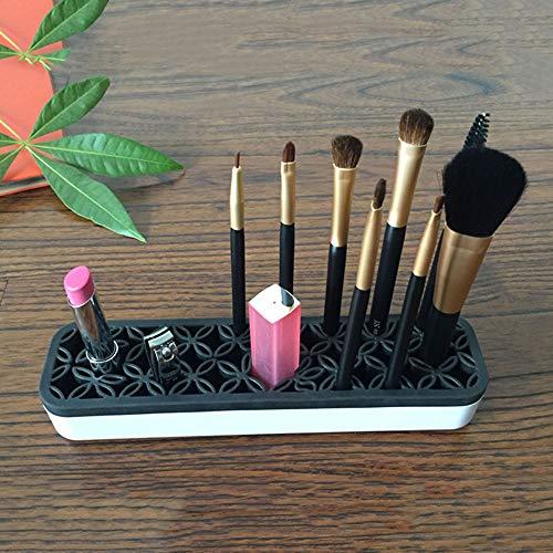 Portaescobillas de maquillaje Organizador de pinceles de maquillaje de escritorio y tendedero Tendedero (Color : Negro)
