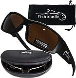 Fishoholic Polarized Fishing Sunglasses (5 Options Camo - Blue & Silver Mirror - Amber) Free Hard Case & Pouch UV400 100% UV Sun Protection. Great Fishing Gift. (mb-AMB)