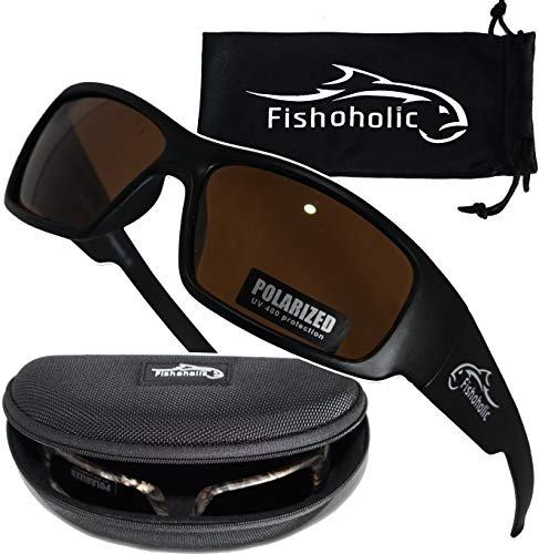 Fishoholic Polarized Fishing Sunglasses (5 Options Camo - Blue & Silver Mirror - Amber) Free Hard Case & Pouch UV400 100% UV Sun Protection. Great Fishing Gift. (mb-AMB)