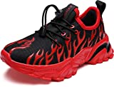 BRONAX Slip On Shoes for Boys Laceless Size 12 Flame Comfortable Light Cushion Running Athletic Sports Sneakers for Children Black Red 30