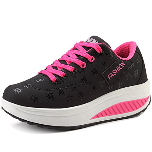 Solshine Damen Fashion Plateau Schnürer Sneakers mit Keilabsatz Walkmaxx Schuhe Fitnessschuhe Schwarz 42EU