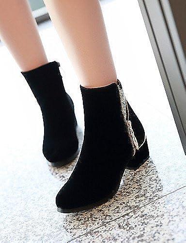 XZZ  Chaussures Femme Laine synthétique Gros Gros Talon Bout Arrondi Bottes de Moto Bottes Habillé Noir  qualité pas cher et top