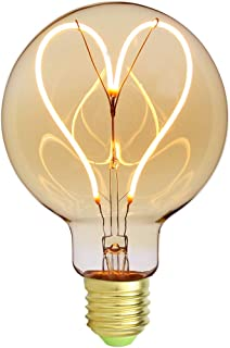 TIANFAN Ampoule Edison vintage classique G95 coeur Motif Filament LED doux Verre ambre 4W 220/240V Culot E27