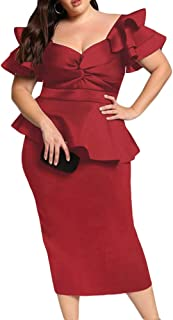 Womens Plus Size Ruffle Sleeve Peplum Cocktail Evening Party Midi Dress