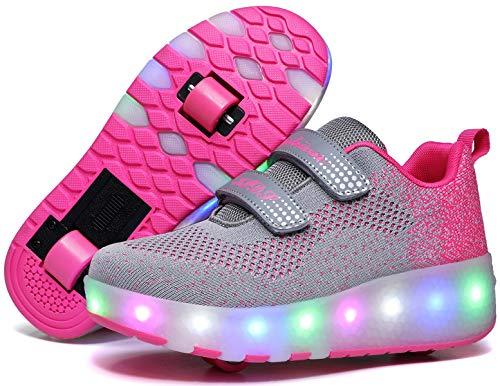 Unisex Kinder LED schuhe mit rollen, USB Wiederaufladbare automatische Rollschuhe, inliner herren Skateboardschuhe , Outdoor-Sportarten Gymnastik Mode Rollerblades Sneaker für Jungen und Mädchen