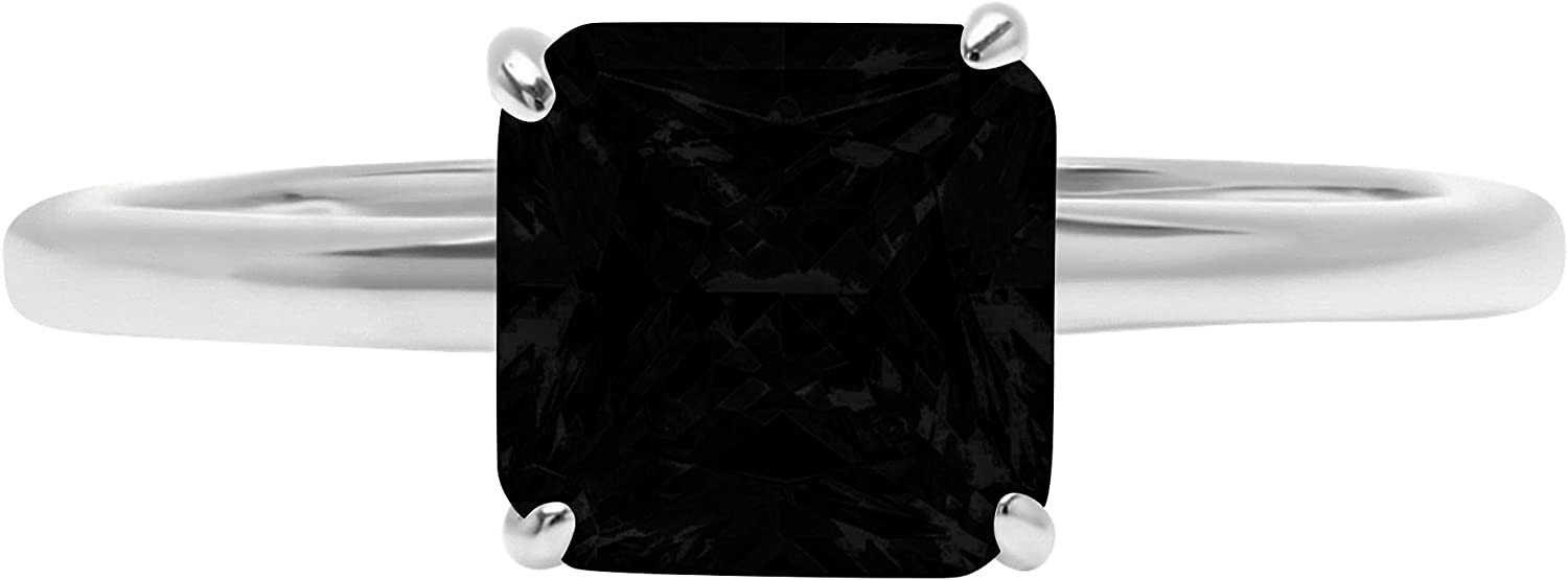 1.9ct Brilliant Asscher Cut Solitaire Flawless Genuine Natural Black Onyx Ideal VVS1 4-Prong Engagement Wedding Bridal Promise Anniversary Designer Ring Solid 14k White Gold for Women
