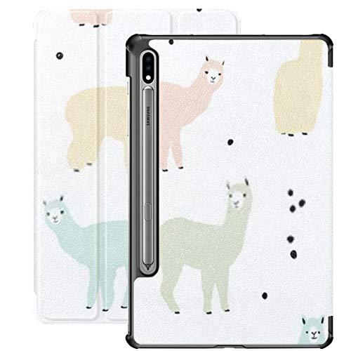 Funda para Galaxy Tab S7 Funda Delgada y Liviana con Soporte para Tableta Samsung Galaxy Tab S7 de 11 Pulgadas Sm-t870 Sm-t875 Sm-t878 2020 Release, Seamless Pattern Lama Flock Multicolor Alpacas