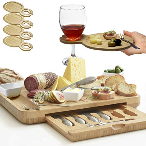 Premium Cheese Board & Utensils Gift Set – Extensive Serving Set –X- Large Bamboo Board (15.75'x13') & 6 Cheese Knives & 6 Appetizer Forks & 3 Ceramic Dishes & 4 Wine Appetizer Plates