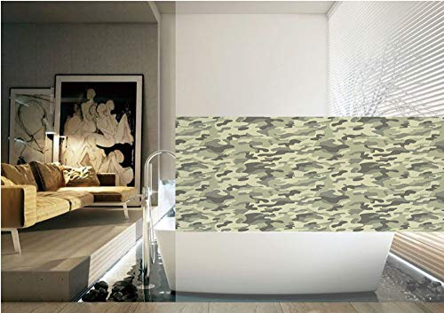 Camouflage 3D Window Film,Army Clothing Motif with Pale Color Splashes Abstract Military Patterned Image Decorative No Glue Privacy Frosted Window Glass Films for Home Kitchen Bathroom Office,Green Ye