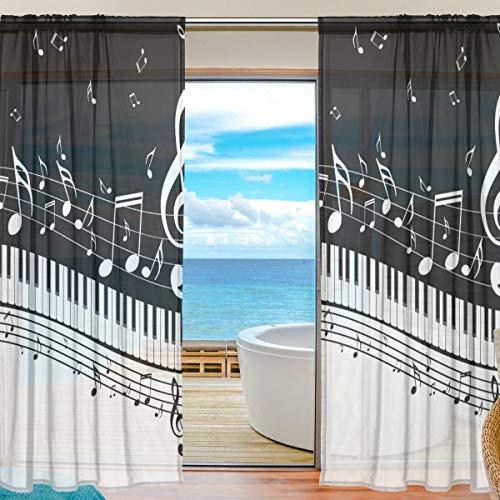 Rode toetsen voor piano met noten voor gordijnen transparant 55 x 84 inch 2 stuks voor woonkamer slaapkamer kinderen