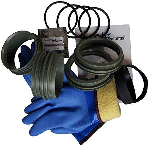 Checkup Dive Systems Unisex– Erwachsene Ring Set mit Handschuhe Blau-Fix, Khaki, 90, M