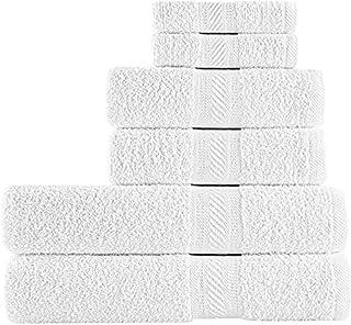 SweetNeedle - Lot de 6 serviettes à usage quotidien, Blanc- 2 serviettes de bain 70x140 CM, 2 serviettes à main 50x90 CM, ...