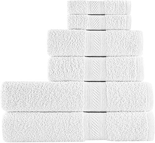 SweetNeedle - 6-częściowy zestaw ręczników do codziennego użytku, biały, 100% bawełna ring-spun i chłonny -2 duże ręczniki kąpielowe 70 x 140, 2 ręczniki do rąk 50 x 90, 2 myjki 30 x 30 cm
