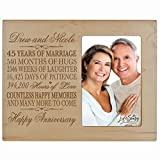 Personalized 45Year Wedding Anniversary Frame Gift for him her couple Custom Engraved 45th year wedding celebration for husband or wife Photo Frame Holds 1 4x6 Photo 8' H X 10' W (Maple)