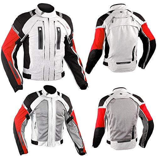 Motorradjacke CE Protektoren Textiljacke Wasserdicht 4 Schicht Weiss/Rot XXL