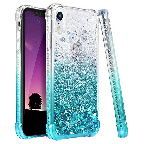 Ruky iPhone XR Case, iPhone XR Glitter Case, Gradient Quicksand Series TPU Bumper Cushion Reinforced Corners Protective Bling Liquid Girls Women Case for iPhone XR 6.1 inches, Gradient Teal