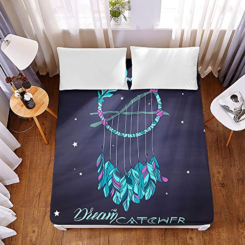 Bedding Fitted Sheets Extra Deep 30cm,Morbuy Bohemian Dream Catcher Print Bedding Microfiber Soft Fade Resistant Bed Sheets for Single Double King Size,Only Bedsheet No Pillowcases (150*200*30cm,A)