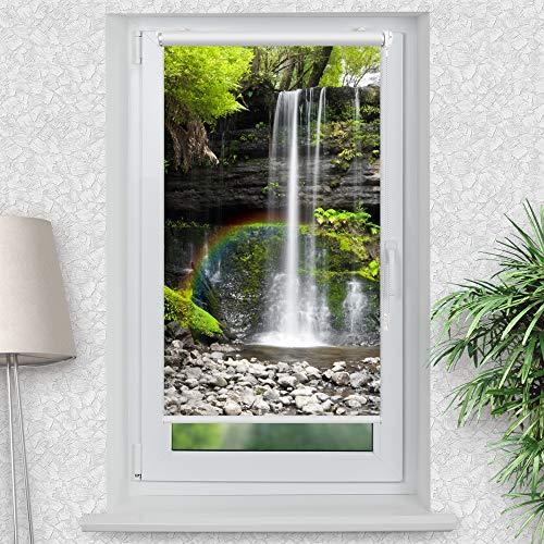 La-Melle » Rollo Motiv Wasserfall im Wald   Verschiedene Größen   Klemmrollo ohne Bohren   auch für Wand- oder Deckenbefestigung, Größe: B 90 x H 150 cm