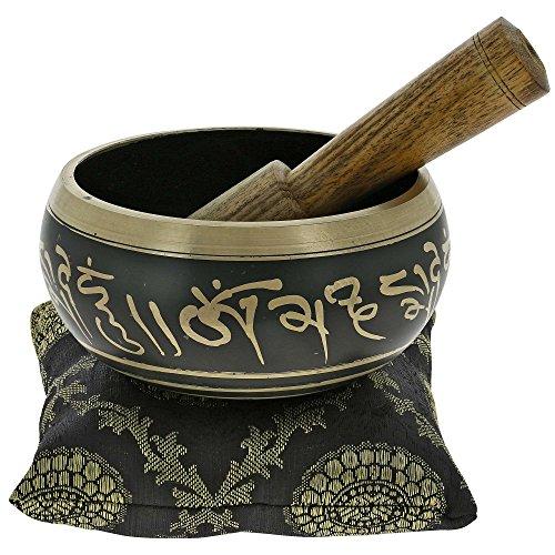 ShalinIndia Bol chantant tibétain Doré/noir 10,2 cm