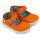 javer - Mercedita Hebilla niños JAVER loneta. Calzado de Lona cómodo para niños. Niñas Color: Naranja Talla: 19