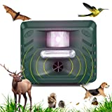 Ultrasonic Animal Repellent Device for Garden, Deer Repeller Outdoor,Bird Deterrent Devices with Motion Sensor &Strobe Light for Mole,Dog,Squirrel,Snake,Rabbit,Groundhog,Rodent,Mice,Raccoon,Cat,Bat.