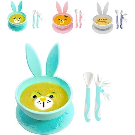 Set Piatto per Bambini a Ventosa Brunoko + Cucchiaino Svezzamento - set pappa svezzamento con piatto a ventosa per bambini e posate pieghevoli per neonato in silicone senza BPA - Progettato in Spagna