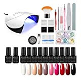 Shelloloh 7ml Esmalte de Gel Semipermanente Kit Uñas en Gel 10pcs Secador de Uñas LED/UV 36W Gel Esmalte de Uñas Curado Luz Máquina Base Top Gel para Manicura