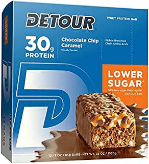Detour Lower Sugar Whey Protein Bar, Chocolate Chip Caramel, 3 Ounce, Pack of 12