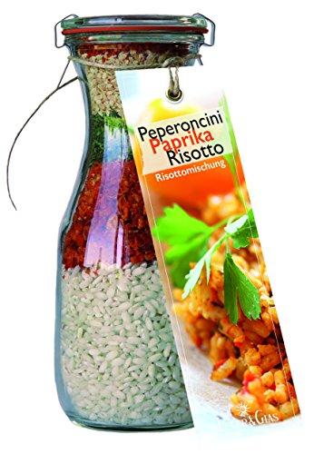 Gourmet Fertigmischung für Paprika Peperocini Risotto – Raffinierte Rezeptideen im Glas für leckere Gerichte – Risotto-Reis mit Gemüse und Kräutern zum Kochen oder Verschenken – von Feuer & Glas